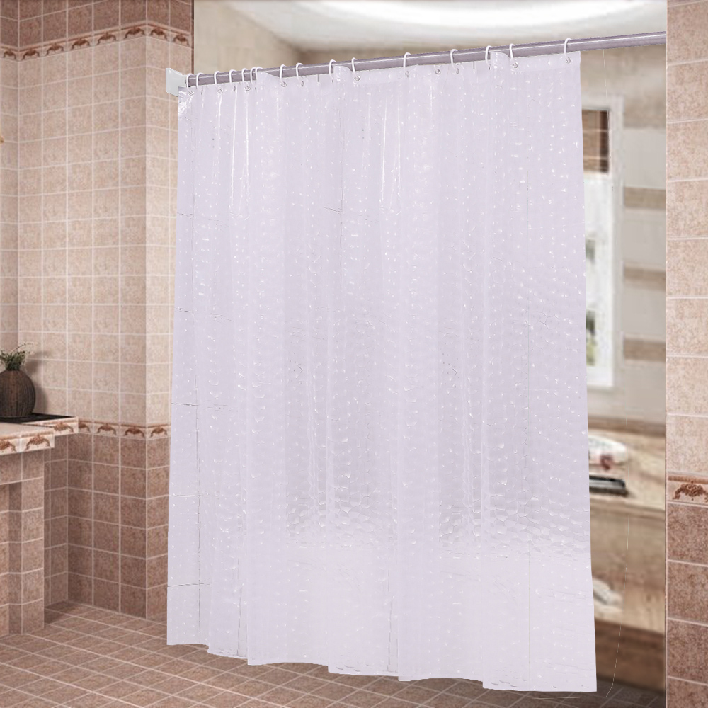 120*180cm 180*180cm Water <font><b>Poof</b></font> 3D Water Cube Pattern Plastic Keep Warm Temperature Bathroom Shower Curtain with 12 Hooks DQ9086 image