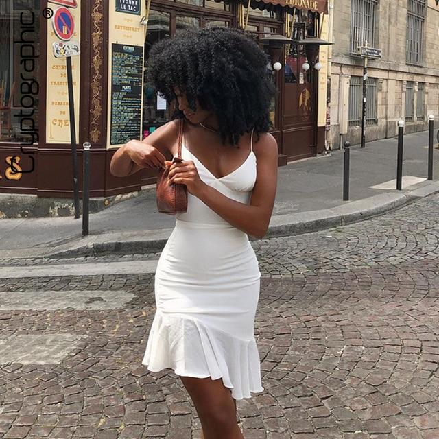 Cryptographic Spaghetti Straps Ruffles Mini Dress Club Party Elegant Sleeveless Slip Women's Summer Sundress Outfits Holiday 1