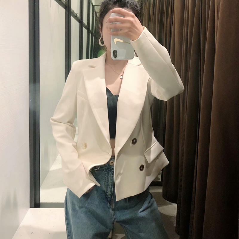 2020 Spring Autumn White Vintage Blazer For Women Chic Button Solid Short Jacket Coat Female Outwear Tops Office Blazers Mujer