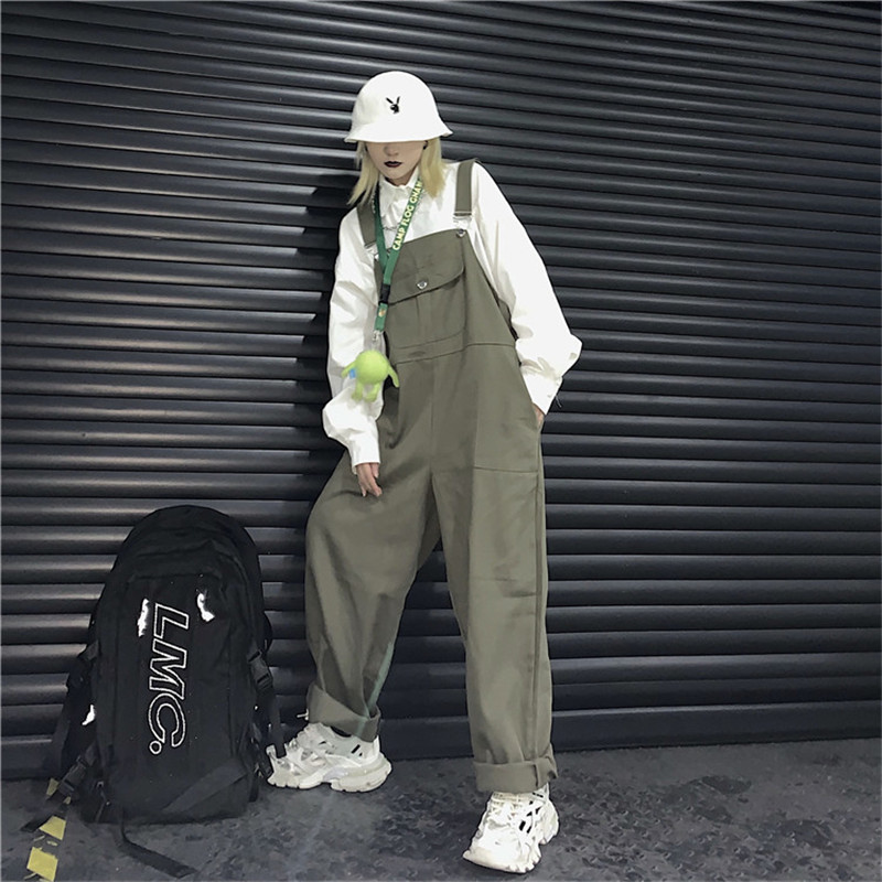 Harajuku Wide Leg Pants 2020 New Loose Japan Korean Casual Ins Jumpsuit Men Women Couples High Waist Overalls Safari Dungrees