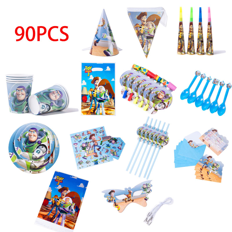 90pcs Toy Story Birthday Party Decorations Disposable Paper Napkins Cups Banner Table Cloth Straws Plates Baby Shower Supplies