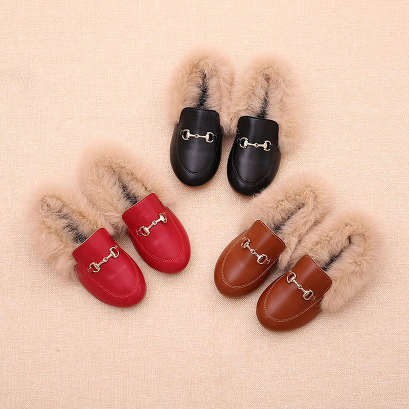 1-3 Year Winter Kids Fur Shoes Baby Girls Shoes Warm Flats Children Shoes Pu Leather Shoes Toddler Fashion Moccasin First Walker