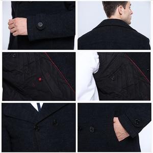 Image 4 - חורף עסקי צמר טור כפתורים כפול כותנה טפח מעיל מעיל להאריך ימים יותר לכייס להסרה Sobretudo Palto מקרית מעיל גברים