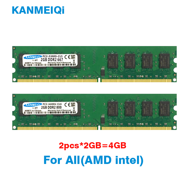 <font><b>ddr2</b></font> ram <font><b>4gb</b></font>(2pcsX2гб) 667/800MHz memory dimm Desktop 240pin 1.8V intel amd memoria Wide board New KANMEIQi image