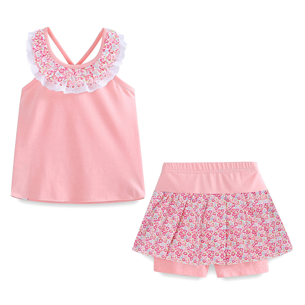 Mudkingdom Floral Summer Girls Outfits Backless Lace Collar Tops and Short Culottes Holiday Clothes for Kids 4