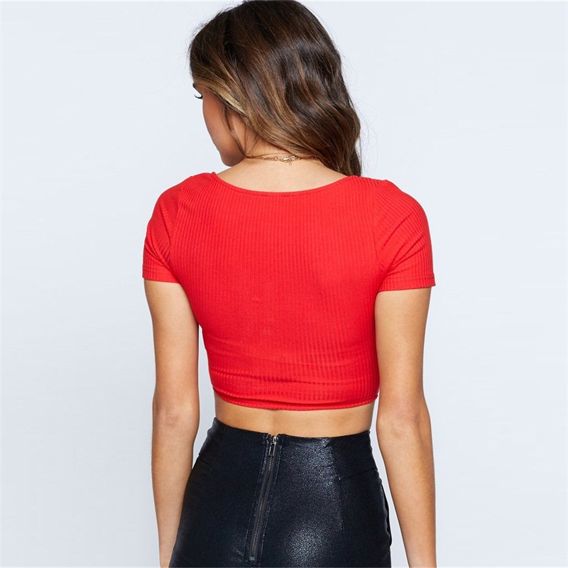 Missakso Women Solid Ribbed Crop Top Button Streetwear Short Sleeve Female Tops O Neck Holiday Slim Sexy Summer T Shirt