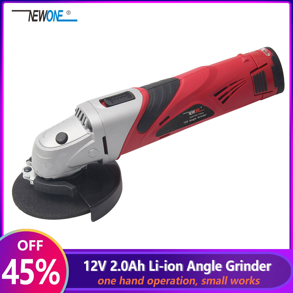 12-Volt 2000mAh Cordless Lithium-ion Angle Grinder Tool 100mm Disc Electric Angler Sander Wheel Grinder Woodworking Buffer Tool