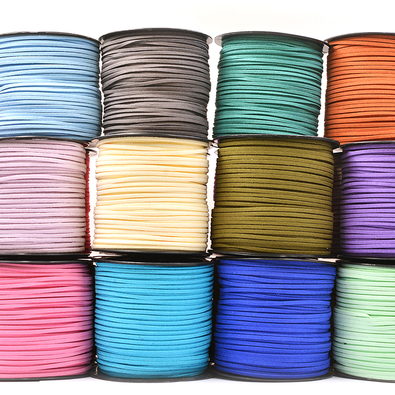 5meter/Lot 2.6x1.5mm Complete Flat Faux Suede Braided Cord Korean Velvet Leather Handmade Beading Bracelet For Jewelry Making