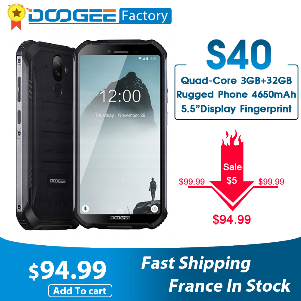 Doogee S40 4Gnetwork Robuuste Mobiele Telefoon Android 9.0 8.0MP IP68/IP69K MT6739 Quad Core 3Gb Ram 32gb Rom 5.5Inch Display 4650Mah