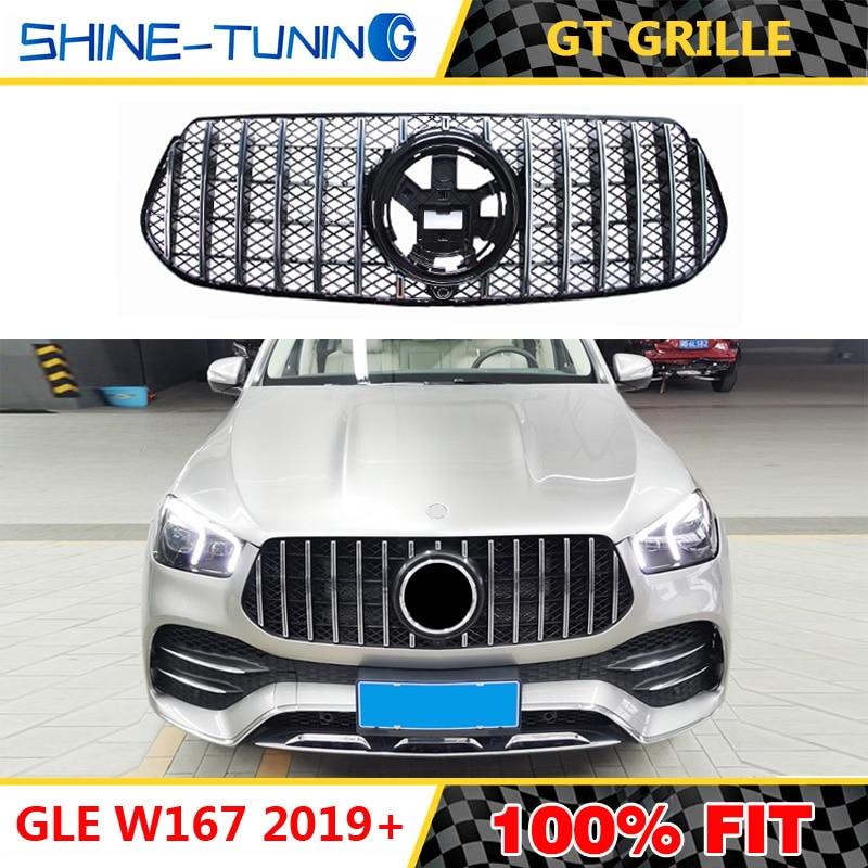 Ön ızgara için uygun mercedes GLE W167 GT GT R için AMG Grille GLE300 GLE350 GLE400 GLE450 2019 + olmadan amblemi