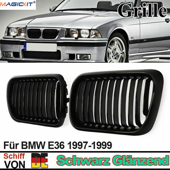 MagicKit E36 Sport Kidney Grille Glossy Black Front Center Hood Grill M3 97-99 For BMW E36 3 Series 1997-1999 Racing Grills image