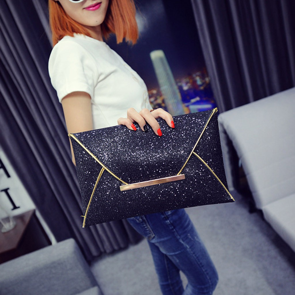 Women Evening Bag Pouch Sequins Envelope Black Handbag Sparkling Party Bag Solid Wedding Day Clutches Gold Purses 2019 #30