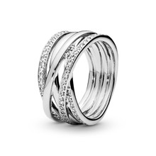 Female Ring 2021 New 925 Sterling Silver Sparkling & Polished Lines Finger Ring for Female Wedding Engagement Jewelry Gift
