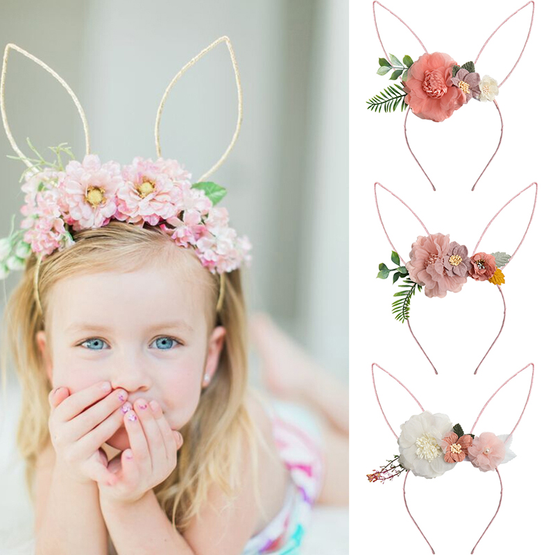 CN Organza Flower Rabbit Ears Bunny Hairband For Girls Easter Bunny Headband Party Headwear Easter Gift Girls Hair Accessories