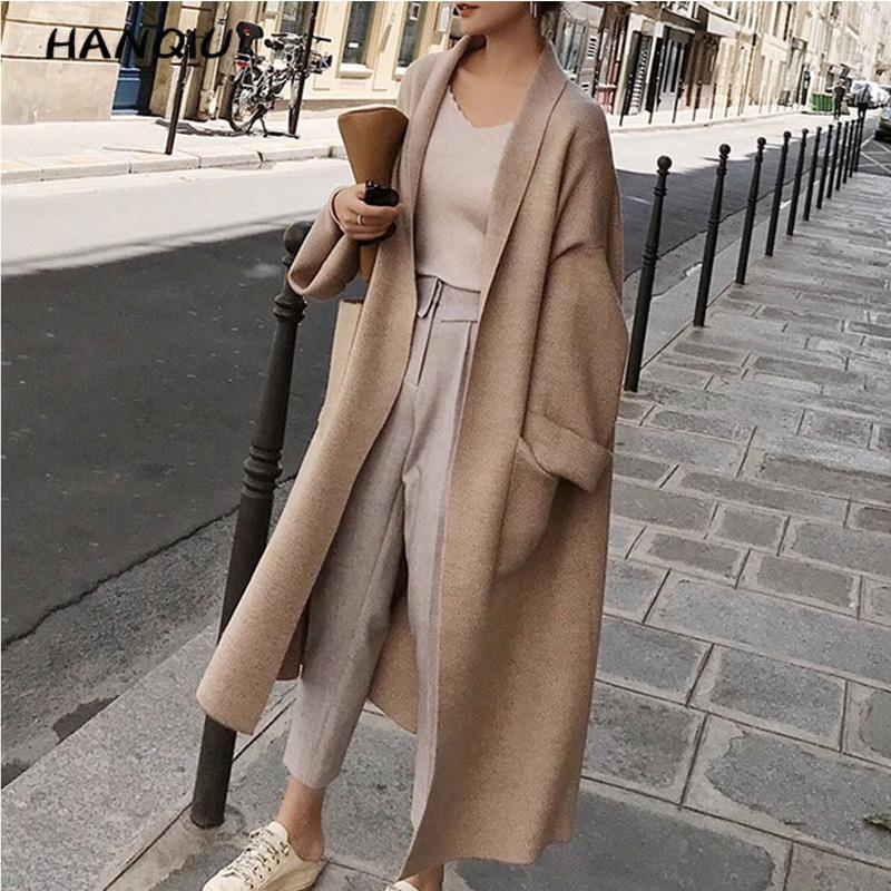 2019 Korean Elegant Long Sleeve Winter Coats Loose Knitted Cardigan Coat Women Trench Coat Ropa Mujer Oversized Woman Clothes