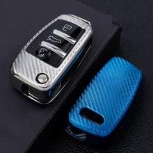Fibra de carbono macio tpu caso capa chave do carro pele titular escudo protetor para audi c6 a7 a8 r8 a1 a3 a4 a5 q7 a6 c5 3 botões chave