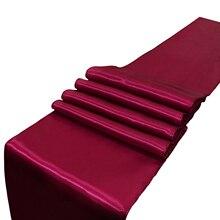 格安 10 個サテンテーブルランナー赤/黒/ゴールド/シャンパン 22 色 30*275 センチメートル結婚式婚約ウェディングパーティーホテル宴会ホーム装飾