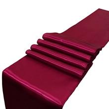 Günstige 10 stücke Satin Tisch Läufer Rot/Schwarz/Gold/Champagne 22 Farbe 30*275cm Für hochzeit Engagement Hotel Veranstaltungs Home Dekoration