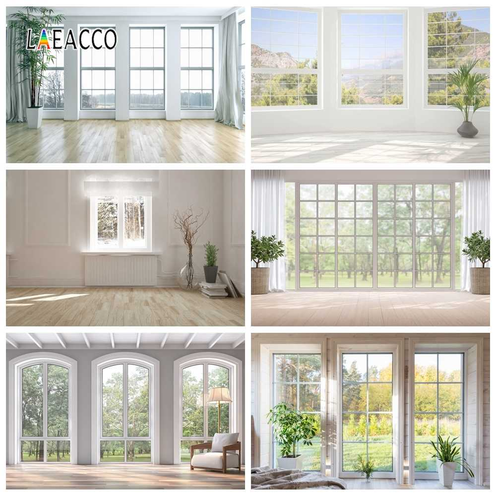 laeacco blanc maison fenetre plantes photophone interieur deco photozone photographie arriere plans photo decors pour studio photo