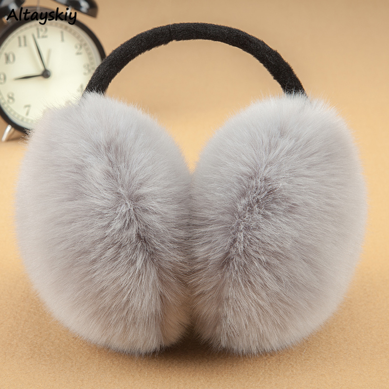 Earmuffs Women Cute Warm Faux Rabbit Fur Simple Solid High Quality Female All-match Korean Style Winter Womens Harajuku Couple