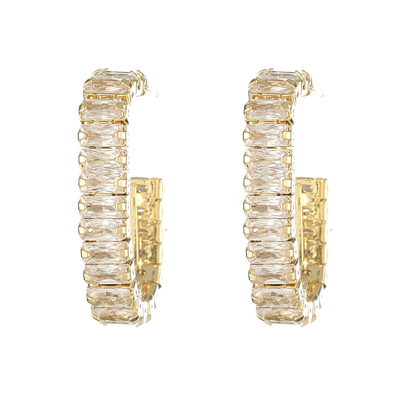 2020 Temperament Women Gold Metal Shining Dazzling Zircon Round Earrings Beautiful Essential Female Earrings Jewelry