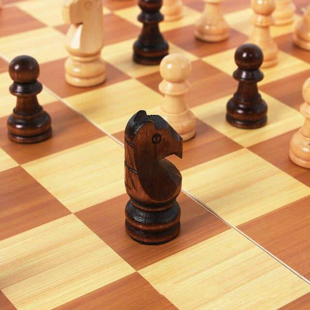 Jeu d'échecs classique en bois, haute qualité plateau magnétique en bois 39cm X 39cm 6