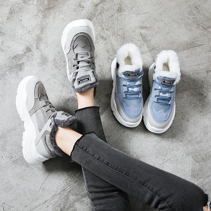 2019 Shoes Winter Warm Platform Woman Snow Boots Plush Female Casual Sneakers Faux Suede Leather Female Snowboots Warm Shoes Fur 70