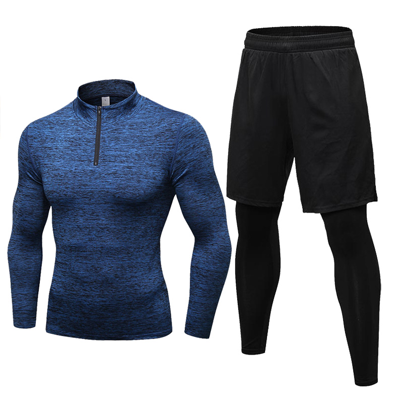 New Arrival Men's Running Sets Winter Sports Tops+Gym Leggings Compression Tights Tracksuit Jogging Sportswear Autumn Male Set