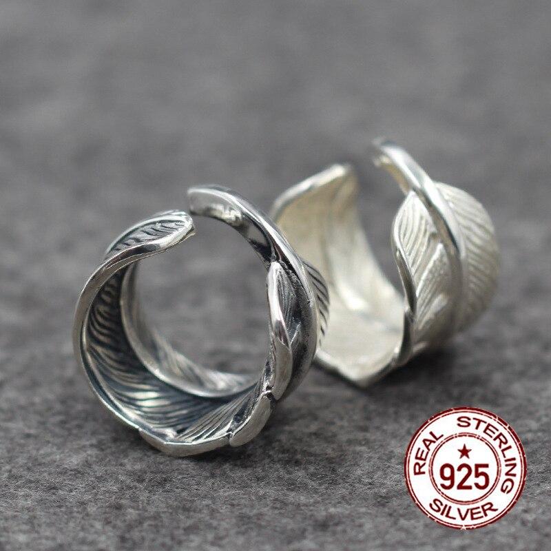 S925 argent sterling ajouré personnalité classique mode plumes vintage gravure style haut de gamme envoyer amour bijoux cadeaux