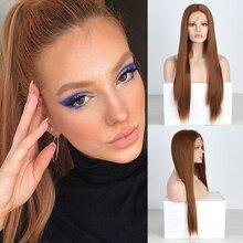 Charyzma naturalna brązowa peruka proste jedwabne włosy peruka syntetyczna środkowa częściowo koronka przodu peruki dla kobiet żaroodporne codzienne peruki