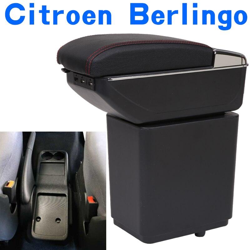 시트로엥 Berlingo 팔걸이 상자 범용 자동차 센터 콘솔 caja 수정 액세서리 더블 제기 usb로