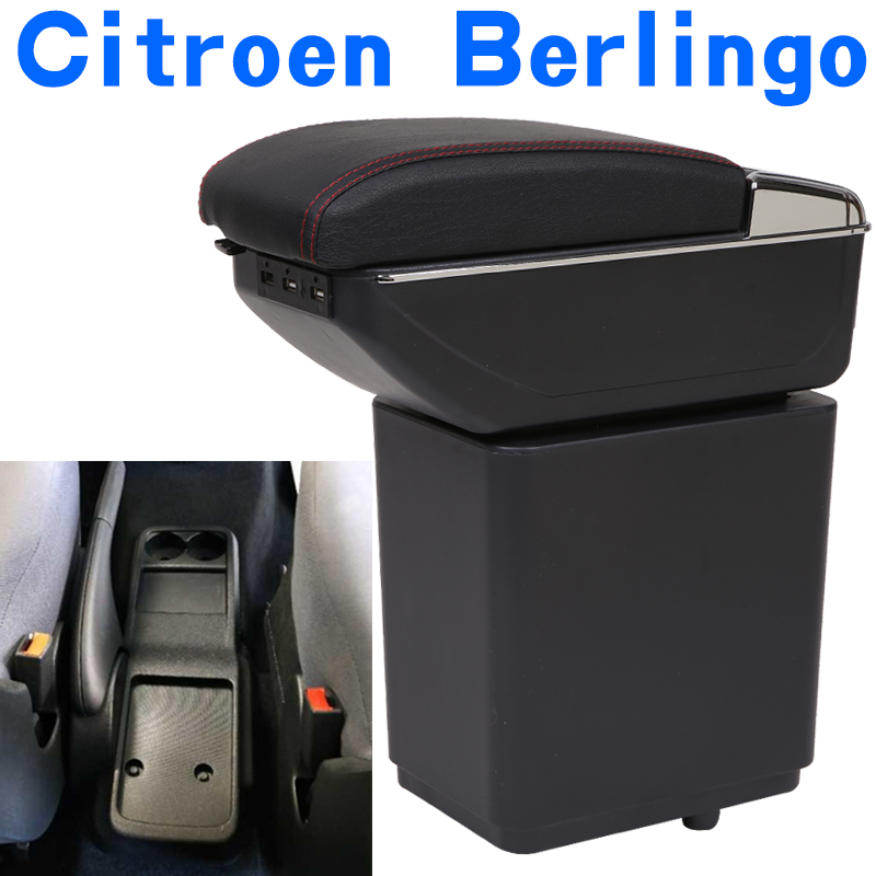 for Citroen Berlingo armrest box universal car center console caja  modification accessories double raised with USB