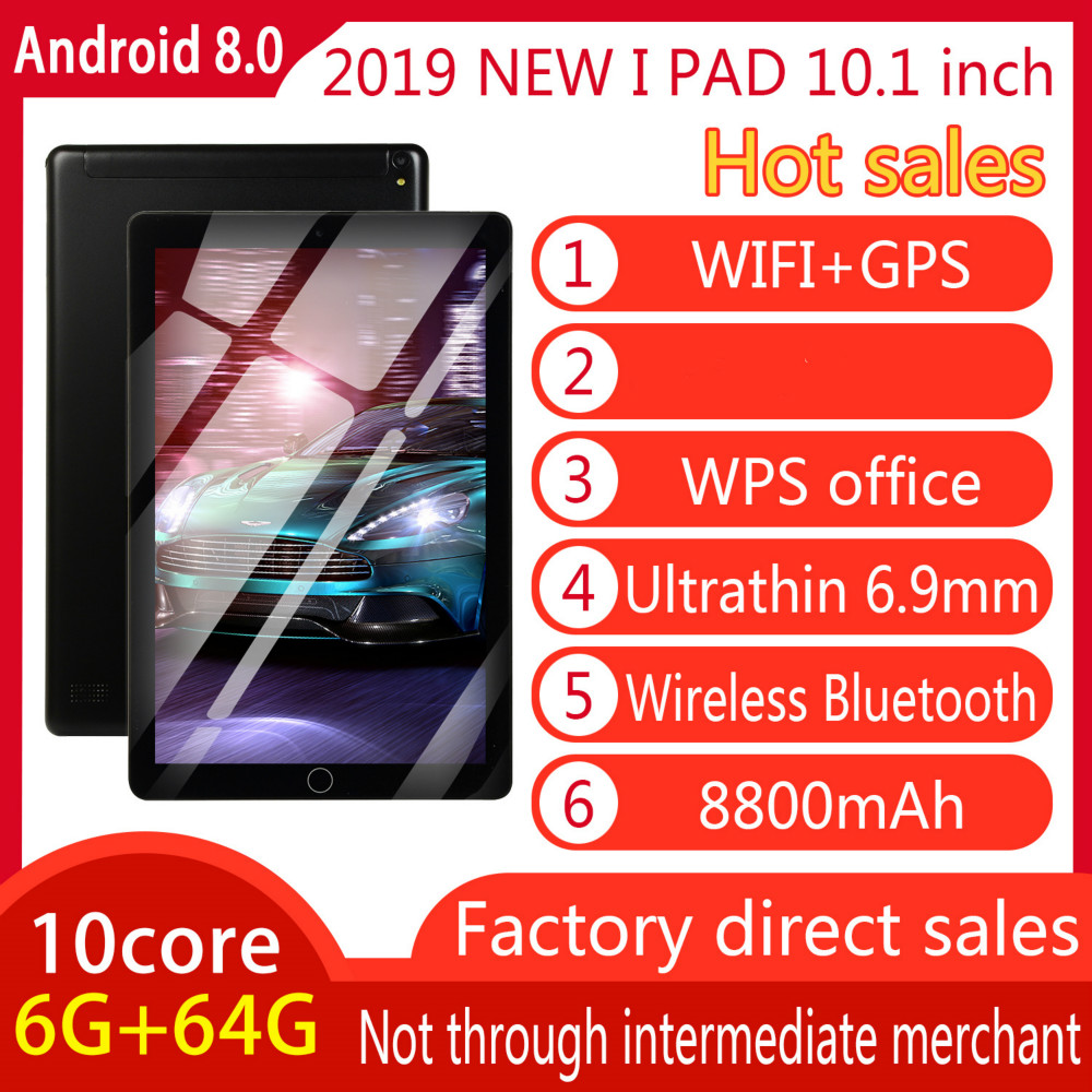 10.1 Inch Android 8.0 RAM 6GB ROM16GB /64G Android Tablet With Dual Card Dual Camera Bluetooth WiFi Dual Camera Kids Tablet