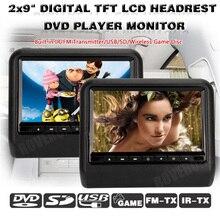 2 шт. X 9 ''DVD подголовник универсальный подголовник для автомобильного сидения Монитор ТВ Авто av монитор MP5 подголовник TFT lcd RCA экран и бесплатные два наушника