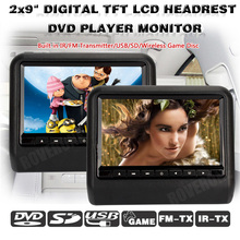 2 Pcs X 9 Inch Headrest Monitor Multimedia Car DVD Player Head Rest TFT LCD Screen USB Accesorios Automovil