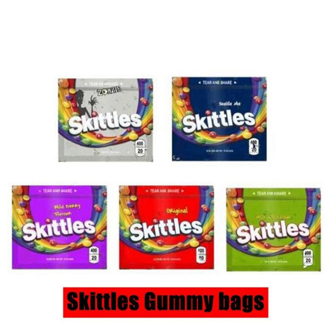 100pcs skittles medicated  cookies runzy customized packing mylar bags for snack,candy,powder leak proof food storage bags