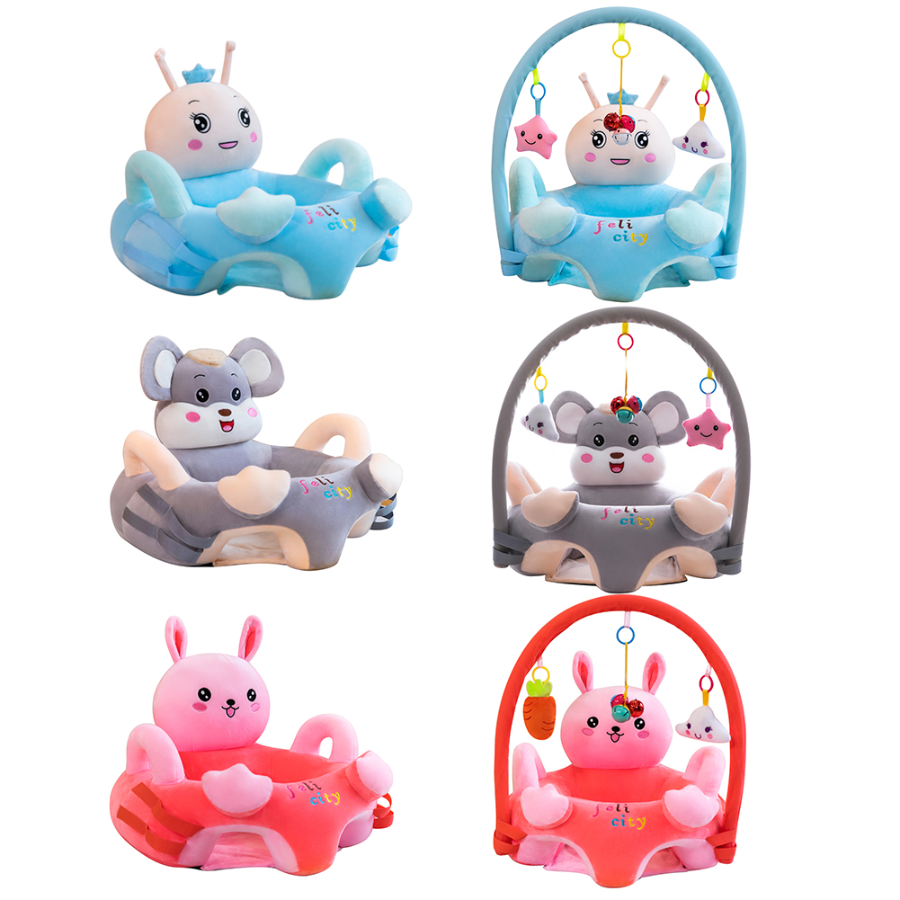 Soft Child Baby Seats Plush Comfortable Crystal Velvet Baby Cartoon Chair Learning Sit Sofa Support Seat Cover Toys 0-3T