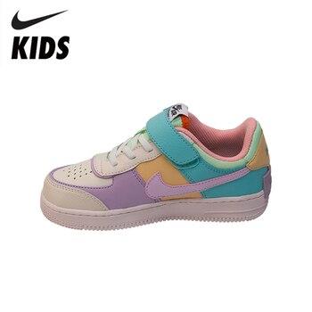ナイキエアフォース 1 オリジナル子供たちは新しい到着子供スケート靴 Comforbale をフック & ループスポーツスニーカー # CI0919