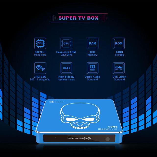 Nuevo Original Beelink GT-rey Pro TV Box Android 9,0 4G + 64G Amlogic S922X-H de alta fidelidad de sonido sin pérdidas con Audio Dolby Audio 2,4G + 5,8G WIFI