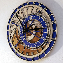 12 Constellations Venice Astronomical Wall clock Creative Wooden Clock Living Room Quartz Home Decoration