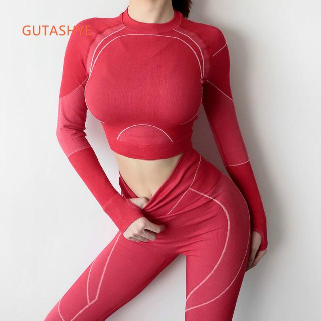 GUTASHYE Women Yoga Crop Top Seamless Leggings Yoga Pants Gym Set High Waist Legging Pants Sport Clothing Fitness Shirt Yoga Set
