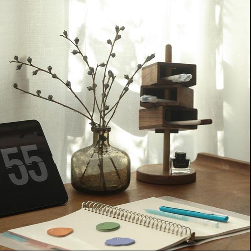 Creative Separated Wood Pen Holder Makeup Brushes Storage  Multi-function Desk Stationery Organizer Box Home Art