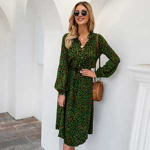 Image 4 - New Arrival Midi Womens Leopard Dress Long Sleeve Fashion A Line V Neck High Waist Boho Summer Dresses Casual Bohemian Vestidos