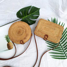 Women Summer Rattan Bags Round Square Straw Bag Handmade Woven Beach Crossbody Bags Vintage Circle Bohemia Bali Shoulder Bag round straw bags women summer rattan bag handmade woven beach cross body bag circle bohemia handbag