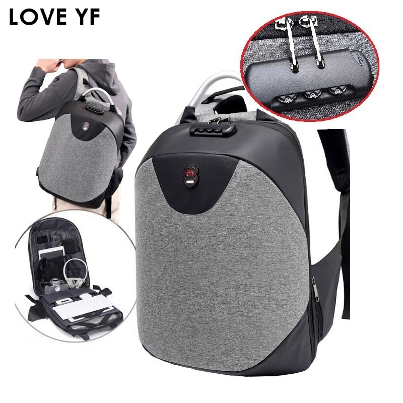Anti theft Backpack 15.6 Inch waterproof laptop backpack USB charging Men Travel backpack Teenage Student School Shoulder Bags|Backpacks| |  - title=