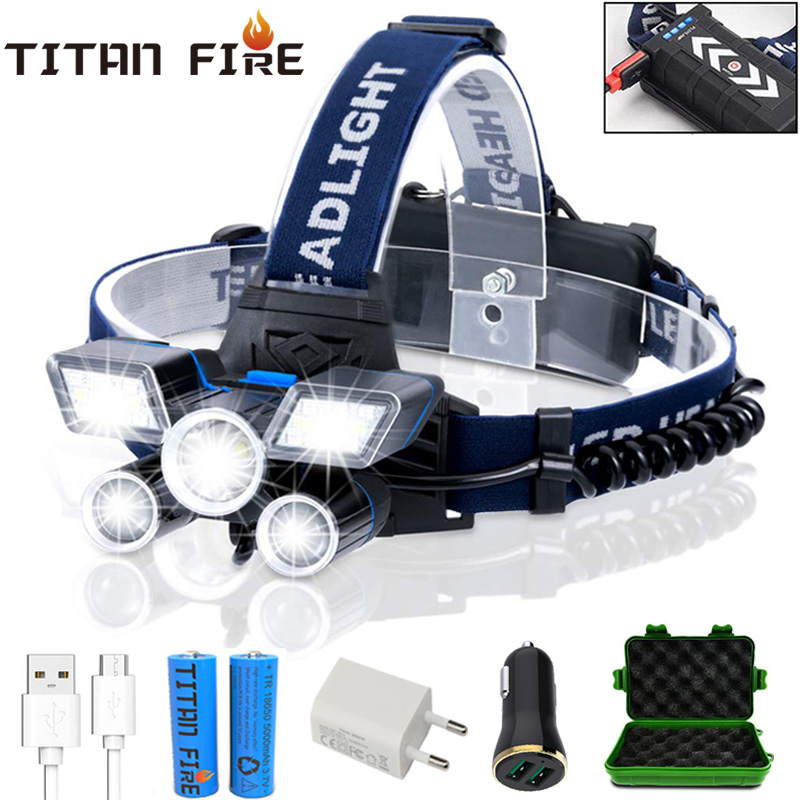 T20 LED Headlamp High Lumens LED Light Ultra Bright 9 Modes Headlight USB Rechargeable Flashlight Waterproof For Fishing Hunting