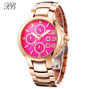Watch Women Gold-Plated Luxury Brand Complex Crystal Stainless-Steel Waterproof Mujer