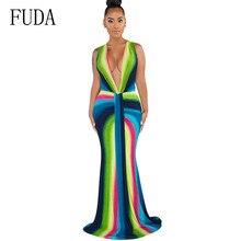 FUDA Vintage Floor-length Maxi Dress Sexy Deep V-neck Sleeveless Fashion Long Summer Hollow Out Party Bandage Vestidos