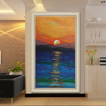 Hand-painted Oil Painting Sunrise Large Living Room Decorative Painting Paintings Continental Entrance Of The Rising Sun Custom