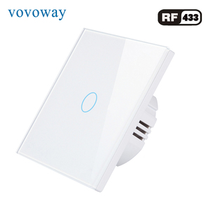 Touch button light switches supports RF433 wireless remote control tempered glass touch panel EU standard AC 110V 220V switches